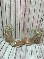 CALL IT SPRING Bronze Leather Block Heel Ankle Strap Sandal Heels Women's Size 9