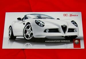 Alfa Romeo 8C Spider Comp - RARE Handbook Supplement - Euro Spec German - 2009