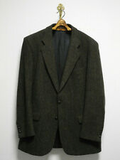 MARKS & SPENCER HARRIS TWEED 42L/52 L/XL SAKKO OLIVE JACKET LEDER PATCHES