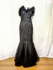 New listing Vintage 1980s Does 1950s Zum Zum Black Lace Trumpet Mermaid Prom Dress Ruffles