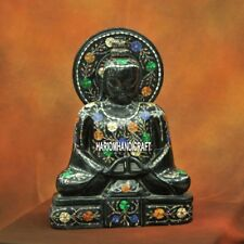 12'' Antique Marble Stone Buddha for Sale Statues Inlay Beautiful Home Art H3788