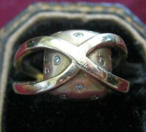 18K Yellow Gold Criss Cross over Pillow Ring w 12 DIAMOND POLKA DOTS, Sz 9, 9.7g