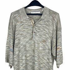 Jhane Barnes Men's Large 100% Silk Polo Short Sleeve Lightweight Shirt Green