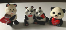 Hallmark Valentine Merry Miniatures (Lot of 3) Pandas With Hearts