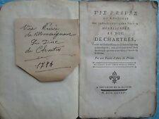 VIE PRIVEE OU APOLOGIE DU DUC DE CHARTRES, 1784.