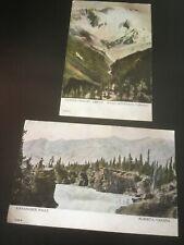 More details for kananaskie falls & glacier from mt abbott rocky mountains antique postcards