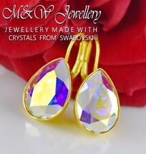 Gold Plated 925 Silver Earrings Crystals From Swarovski® FANCY PEAR Crystal AB