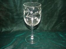 Viintage Etched Crystal Water or  Wine Goblet  ~ 7 inches tall  stemware