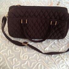 Vera Bradley Brown Quilted Bag Tote Shoulder Handbag Purse Gold Logo