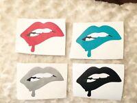 4 Lip Bite Red Lipstick Makeup Decal Car Phone Sticker Yeti Mug Glass Decal Sale