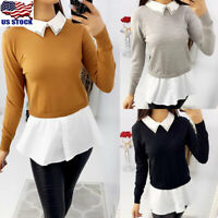Womens Collar Neck Long Sleeve Tops Casual Patchwork Knitted Pullover Sweater US