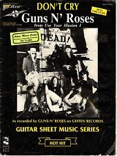 GUNS N ROSES - DON'T CRY - 12 PAGE SHEET MUSIC WITH TAB - AUSTRALIA - 1981