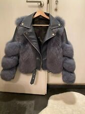 Real Genuine fox fur coat with Real leather Womens Luxury Winter Jacket Size M
