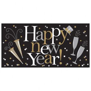 Silvester Deko Banner Happy New Year Wand Schild Bild Anhänger Schriftzug