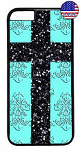 Christ Cross Aqua Damask Christian Case Cover iPhone Xs Max XR X 8 7 6 Plus 5 4