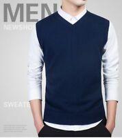 Men Slim Vest Sleeveless Sweater V Neck Casual Cotton Warm Casual Pullover