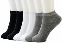 New 6-12 Pairs Ankle Socks Cotton Mens Womens 9-11 10-13 Sports Black White Gray