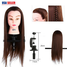 "24"" Human Hair Practice Cosmetology Training Head Mannequin Doll Salon+ Clamp US"