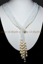 Long Charming 3 Strands 4mm White Moonstone Bead & White Pearl Necklace 50Inches