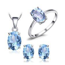 Fine Jewelry Topacio Azul Colgante Y Juego De Pendientes Plata Maciza Espirales