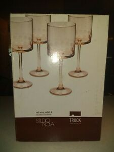 NEW Vintage Studio Nova~ Red Wine ~Set of 4 ~Columbus Circle Pink ~ Wine Glasses