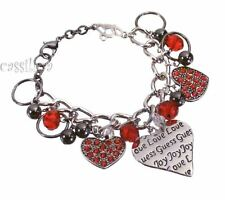 Guess Silver Heart Bracelet Red  Valentines Day Gift Jewelry