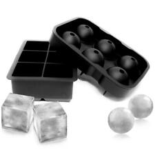 Round or Square Ice Cube Ball Tray Silicone Sphere Mold Bar Whiskey Cocktails