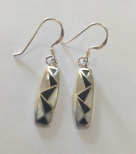 Sterling Silver Rectangular Mother of pearl/Black Resin  Drop Earring