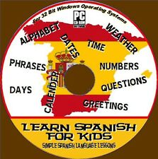 Learn Spanish Kids Basics Easy Interactive Audio Visual Lessons PC CD 32 Bit
