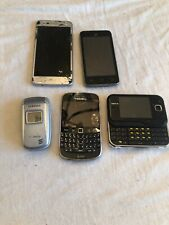Mixed Lot Of 5 Cell Phones Flip Smart & Texting Nokia LG Blackberry