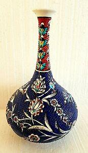 Turkish/Anatolian Handmade Ceramic Iznik Vase Beautiful Hand Painting Pottery
