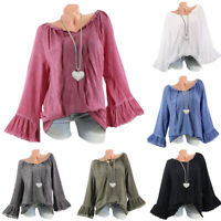 Womens Long Bell Sleeve T Shirt Tunic Lace Up Plain Loose Blouse Top Plus Size