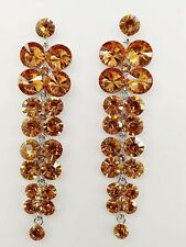 Exquisite Light Brown Crystals Waterfall Drop Style Dangle Stud Long Earrings