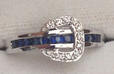 Channel Buckle Sterling Silver, Cubic Zirconia, and Sapphire Ring