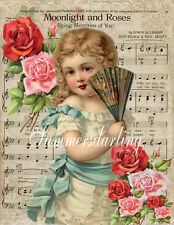 QUILT ART FABRIC BLOCK*VICTORIAN GIRL SONG SHEET*MOONLIGHT ROSES COLLAGE*1-5X7