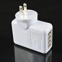 2.1A 4 Port USB Home Travel AC Wall Charger Adapter w/ US Plug for iPhone iPad