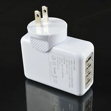 White 2.1A 4 Port USB Portable Home Travel Wall Charger US AC power adapter 10w