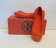 Tory Burch Chelsea ballet flat stitched fire orange shoe 8.5 logo leather reva