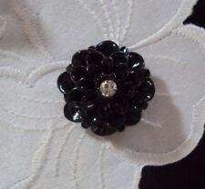 ~Cameo Dahlia Button~ Vintage Cameo~Acrylic 20mm Black & Rhinestone~  >^..^<