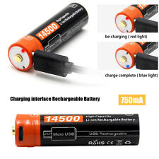 750mAh AA 3.7V 14500Micro USB V2.0 Cable Charging interface Rechargeable Battery