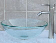 Bathroom Glass Vessel Vanity Sink + Nickel Faucet T12L3