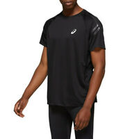 Asics Mens Silver Icon T Shirt Tee Top - Black Sports Running Breathable
