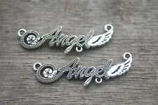 15pcs Angel charms Silver letters Angels wings Charm Pendants connector 43x13mm