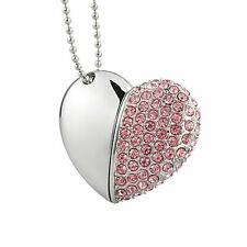 Cute Pink Crystal Heart Shape 64GB USB2.0 Flash Drives  Memory Sticks USA Stock