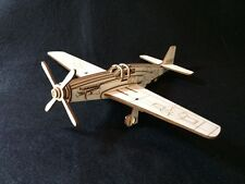 Laser Cut Wooden WW2 Mustang P-51 War Plane 3D Model/Puzzle Kit
