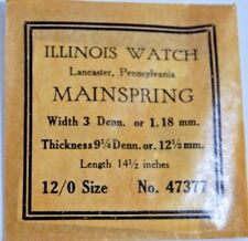 Illinois Watch Co Pocket Watch Main Spring Size 12/0 No 47377 NOS