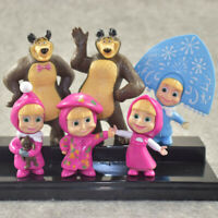 Masha and The Bear 6 PCS Action Figures Set Party Toys Dolls Gift Cake Toppers