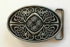 "BELT BUCKLE - OVAL PEWTER FINISH BELT BUCKLE TO SUIT 1.5"" SNAP ON BELT"