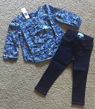 Toddler Girl Size 2 2T Baby Gap Blue Floral Peplum Top & Skinny Jean Jeggings