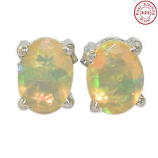 Solid 925 Sterling Silver Natural Ethiopian Opal Stud Earring Jewellery S 7X5MM.
